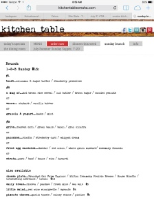 The Sunday Brunch Menu, changes weekly
